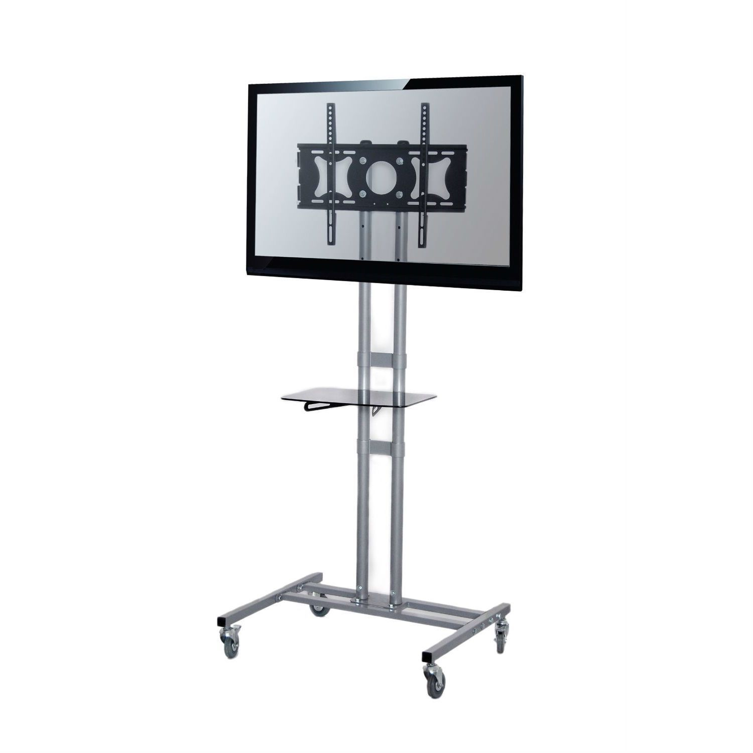 Mobile Tv Stand Modern Adjustable Height Cart For Flat Screen Tvs