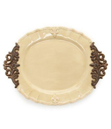 Shop for Artimino Fleur-de-Lis Beveled Earthenware Oval Platter at ...