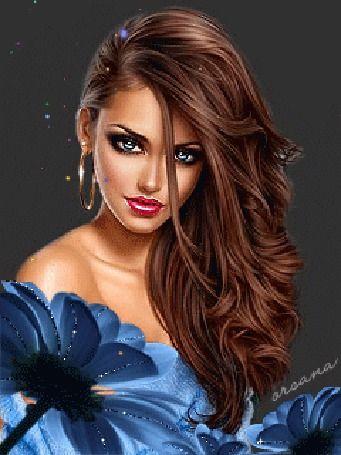 Красивая девушка с длинными волосами в голубом наряде на фоне цветка / Orsana