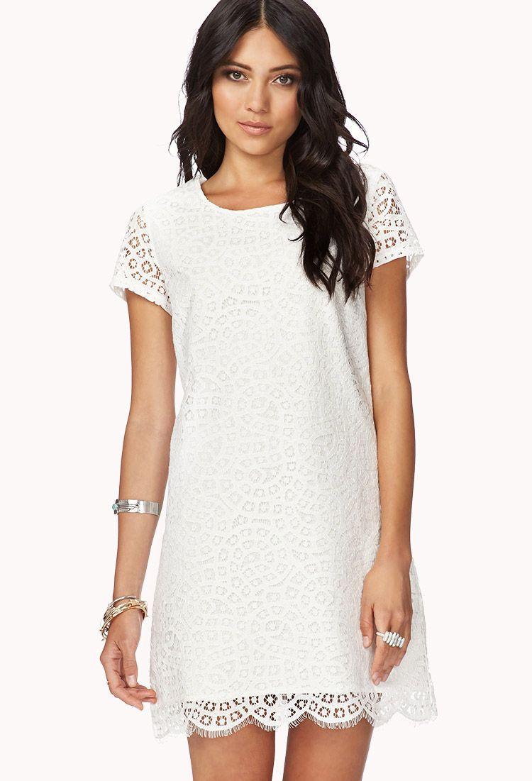 Essential Eyelet Shift Dress Forever 21 Cute White Dress Fashion Lace Shift Dress [ 1101 x 750 Pixel ]