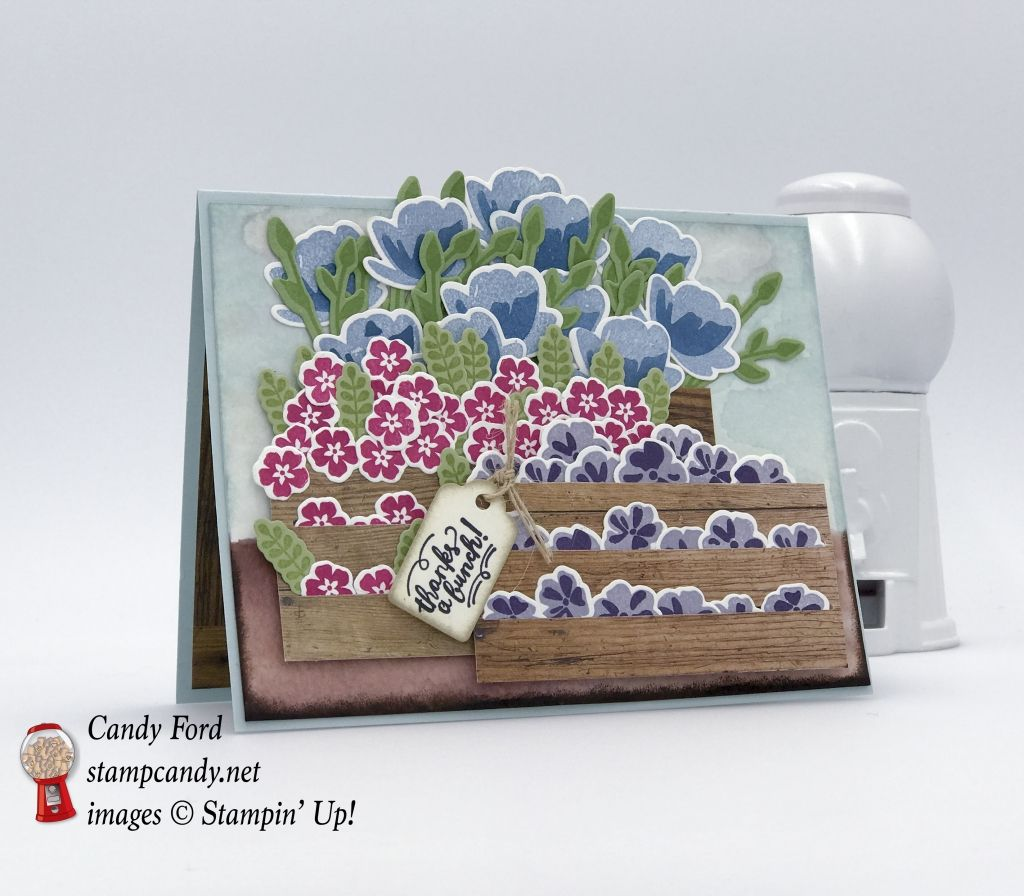Stacked crates of flowers made with Stampin' Up! Wood Words stamp set, Wood Crate Framellits, Wood Textures DSP, Jar of Love bundle by Stampin' Up! #stampcandy