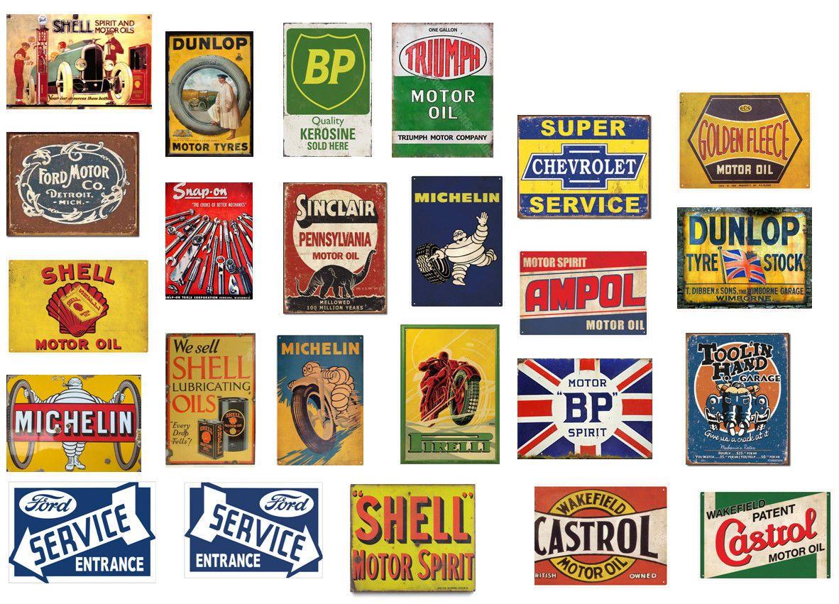 1 18 scale model vintage garage signs set 1 stickers for Vintage garage signs uk