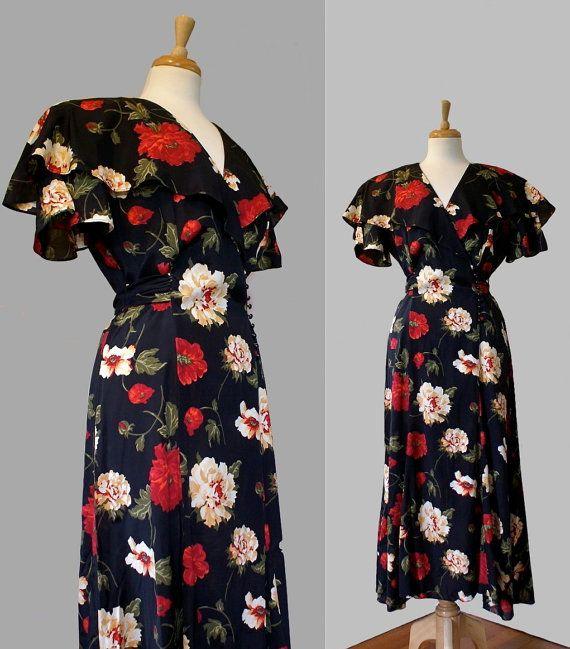 1980s Dress Long Flouncy Black Floral by DuncanLovesTess on Etsy, $38.00