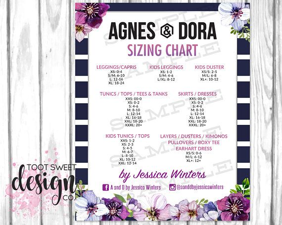 Agnes And Dora Size Chart Poster Custom Sizing Guide Online