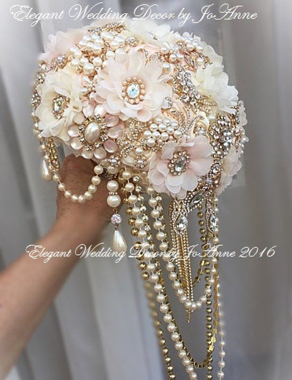 Rose Gold Brooch Bouquet, DEPOSIT, Gold and Pink Rustic Glam Bridal Brooch Bouquet, Gold and Pink Bouquet, Jeweled Bouquet, DEPOSIT ONLY