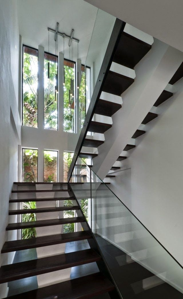 Modern Stairs Designs Half Turn Staircase Design With Glass Railing
