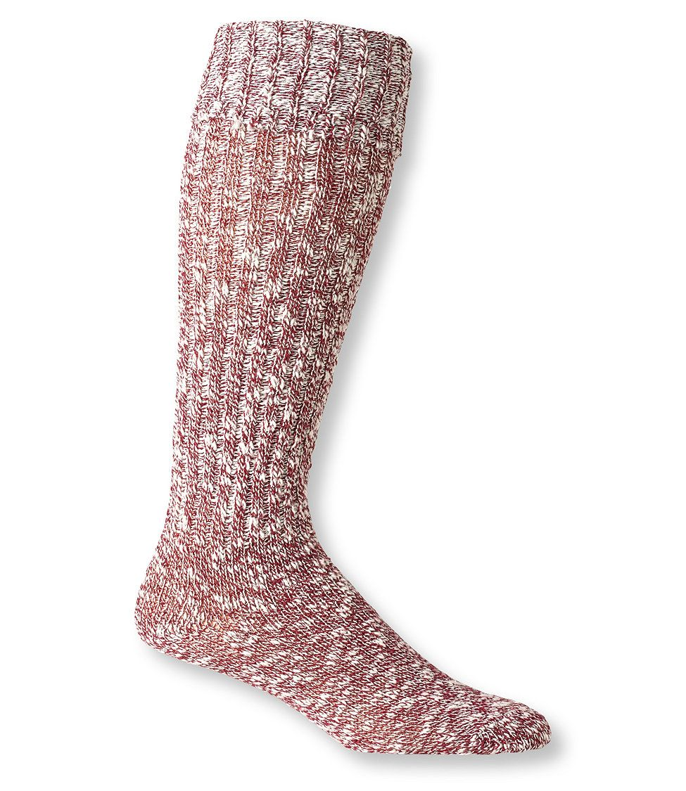 Red Marled Women's Cotton Ragg Knee-High Boot Socks (deep wine)