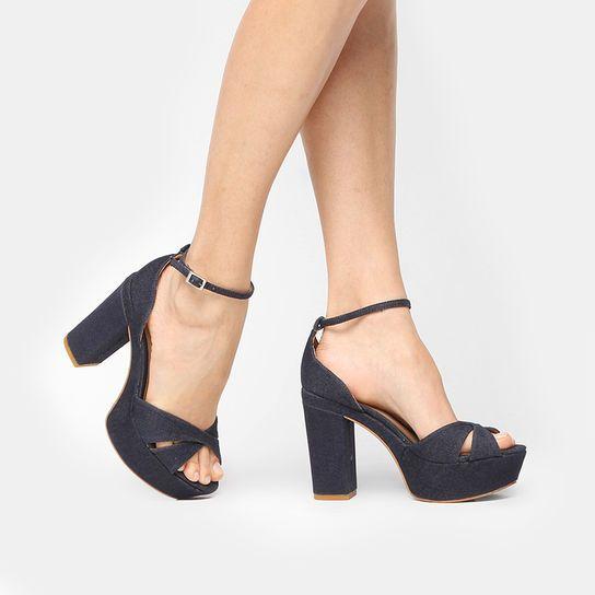 e65286c2d Sandália Dumond Meia Pata Tiras Cruzadas- Jeans | Sapatos