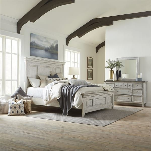 Best Heartland Antique White Queen Panel Bed Overstock Com 400 x 300