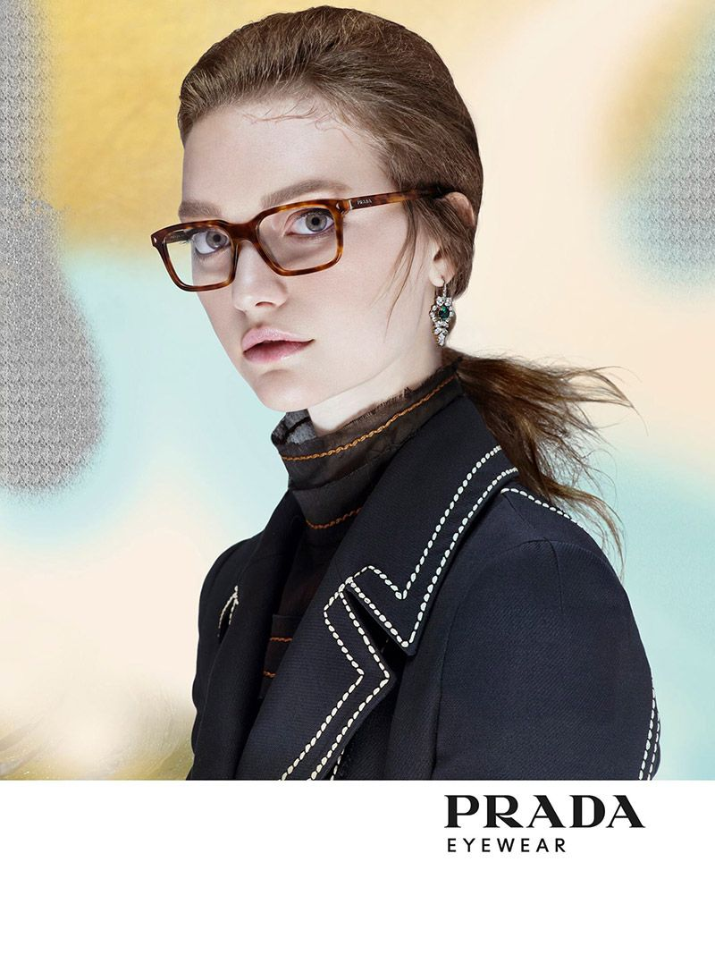 db2215a8844c Gemma Ward follows up the mainline advertisements for Prada spring 2015  with a campaign for its new Prada Journal eyewear collection.
