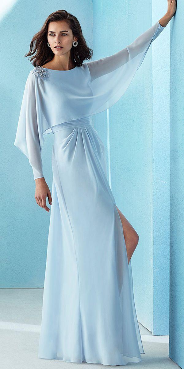 [127.00] Beautiful Chiffon Bateau Neckline Long Sleeves A-line Prom Dress With Beadings