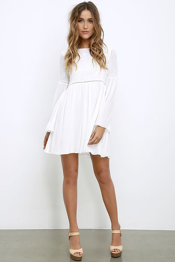 Sight to Behold Ivory Embroidered Long Sleeve Dressat Lulus.com!