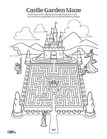 royal printablemaze with castle knight dragon disneyfamilyfun cool coloring pagescoloring - Castle Knights Coloring Pages