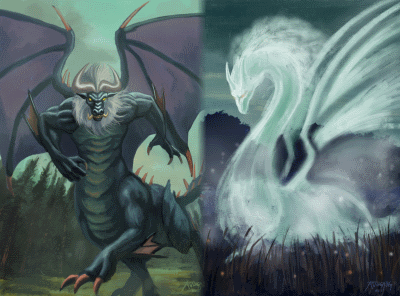 Bedragoth -- a blend of a behemoth and a dragon, and Mistrai Dragon -- a dragon made of mist!