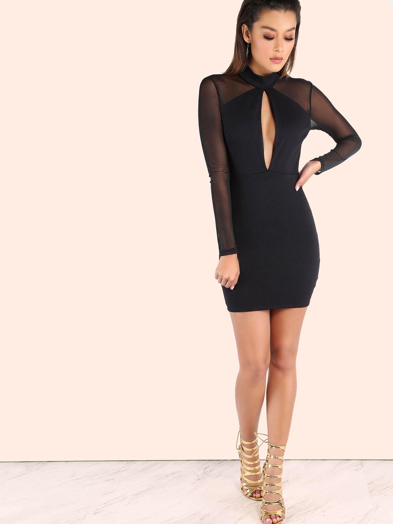 Shop Turtleneck Peakaboo Mesh Sleeved Bodycon Dress Black Online Shein Offers Turtleneck Peakaboo Bodycon Dress With Sleeves Black Bodycon Dress Bodycon Dress [ 1785 x 1340 Pixel ]