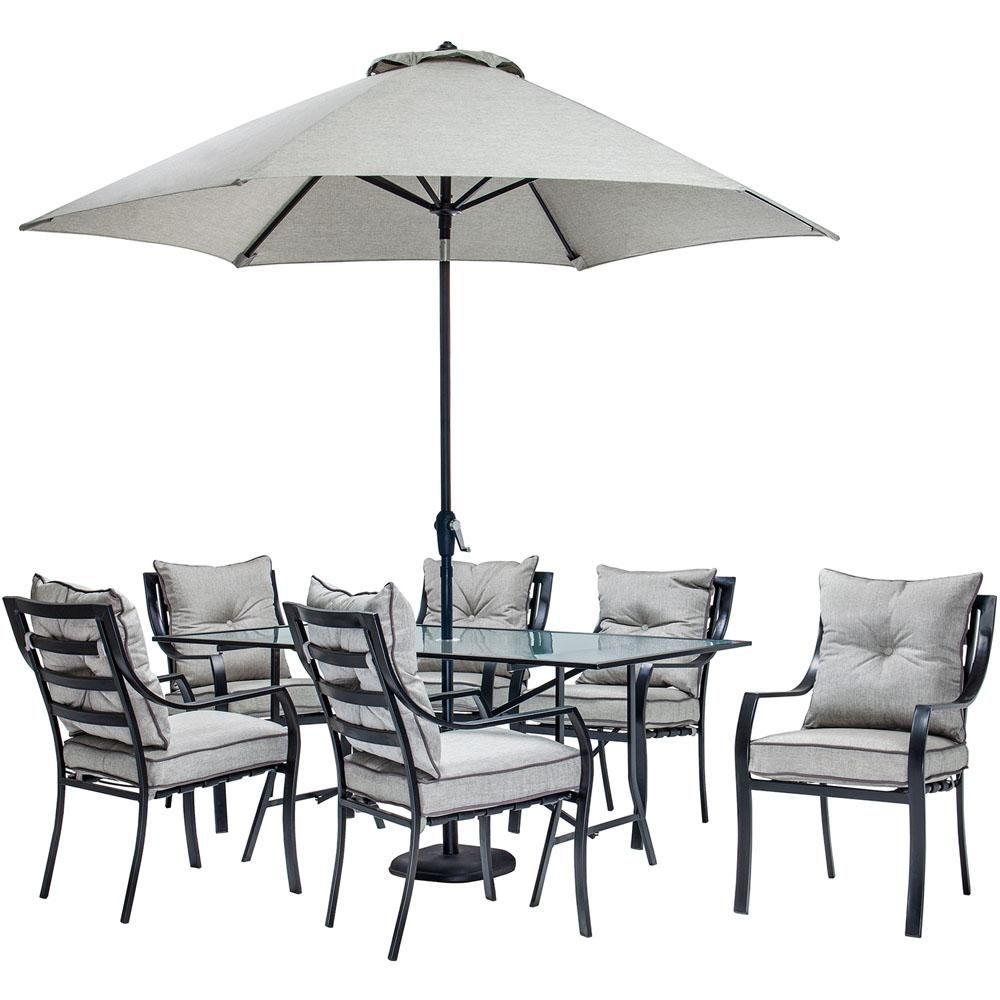 Hanover Lavallette 7 Piece Glass Top Rectangular Patio Dining Set With Umbrella Base And Silv Patio Dining Set With Umbrella Outdoor Dining Set Table Umbrella Patio dining sets with umbrella