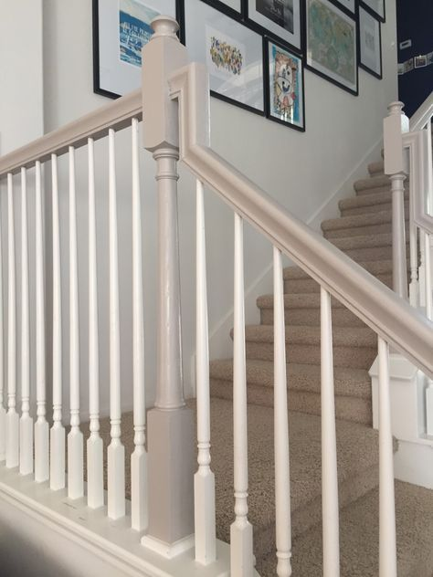 How I Used Chalk Paint To Update My Bannister Painted Staircases Painted Banister Painted Stair Railings