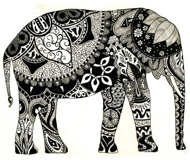 elefant.   super   Pinterest   Elefanten, Blumen-Mandala und ...