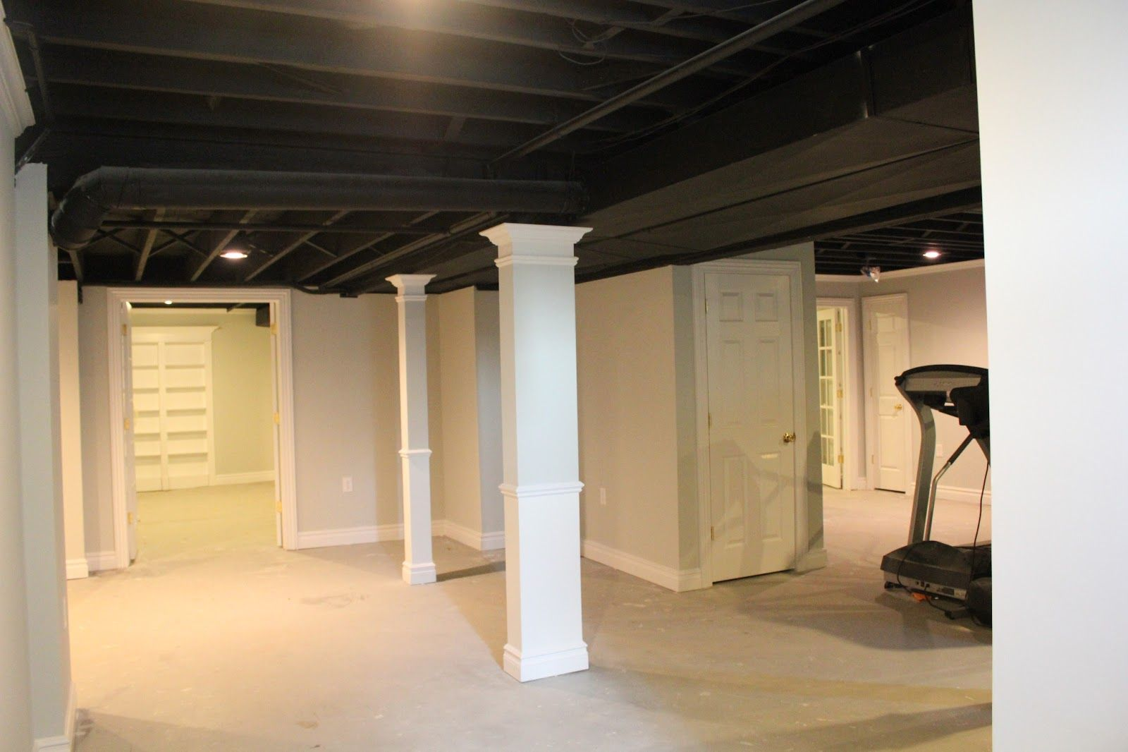 Basement Remodel With Painted Exposed Ceiling Low Ceiling