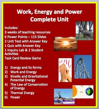 Work, Energy and Power Complete Unit-PowerPoint Lessons