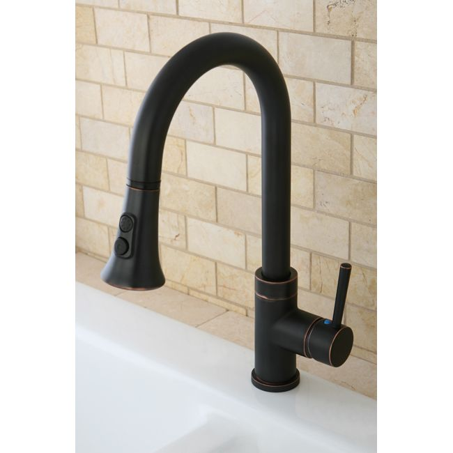 Kitchen Two Tone Oil Rubbed Bronze Single Handle Faucet With Pull Down Spout