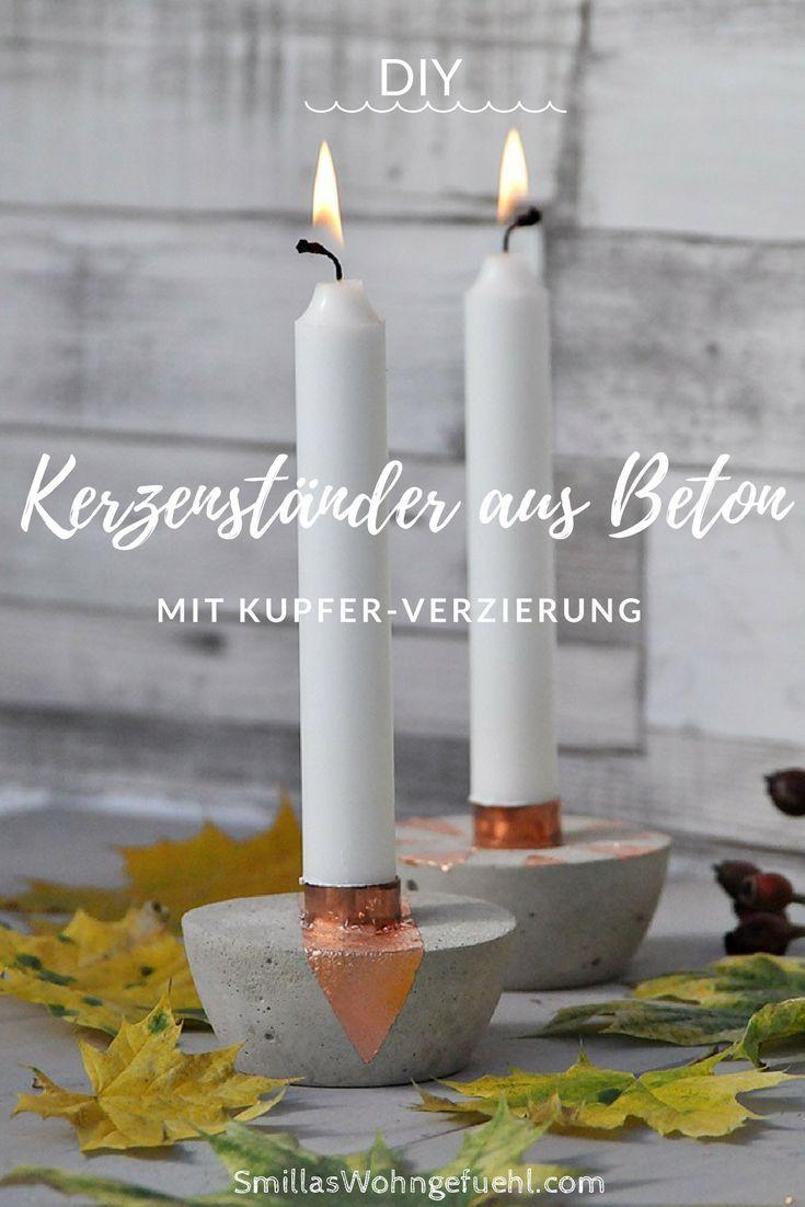 DIY: Kerzenständer aus Beton mit Kupfer, die Farben des Herbstes! #kronleuchterselbstbauen
