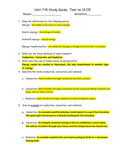Worksheet Methods Of Heat Transfer Potential Energy