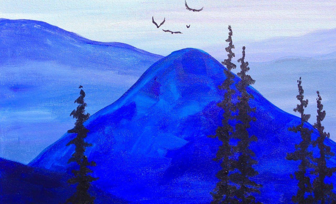 Paint it Blue Easy Mountains Acrylic tutorial ASL   Mountain ...