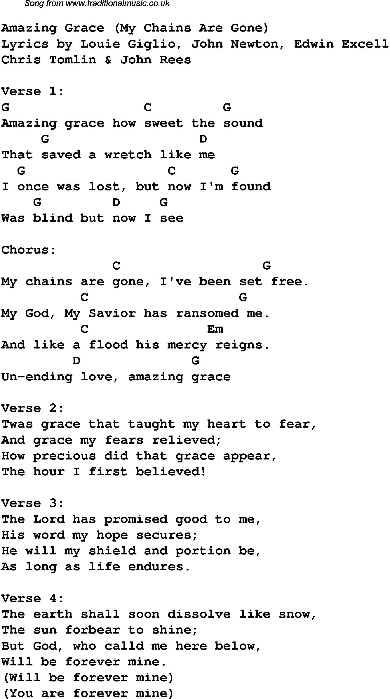 Amazing Grace Lyrics Chords - Chordify
