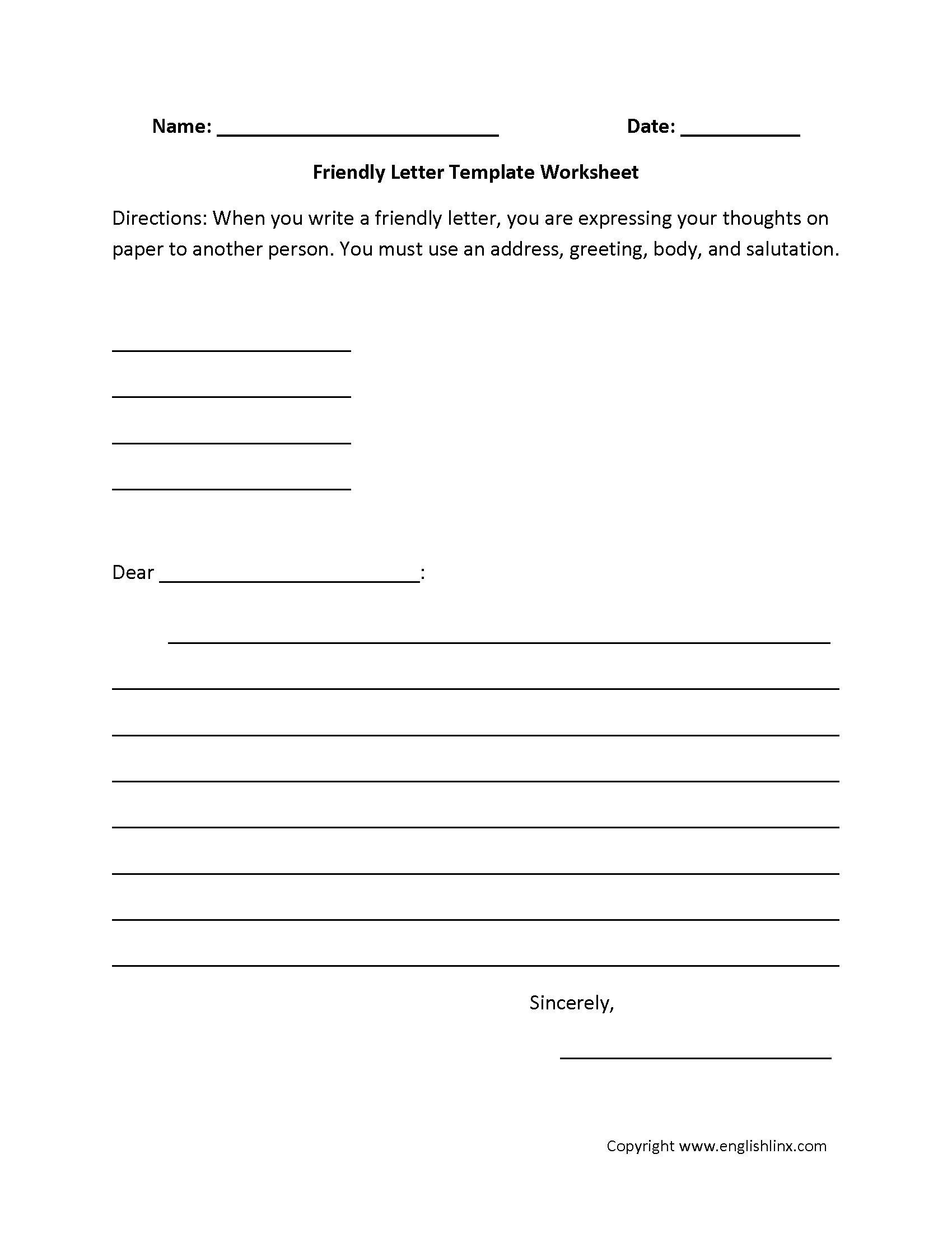 Friendly Letter Writing Worksheets  Classroom Items
