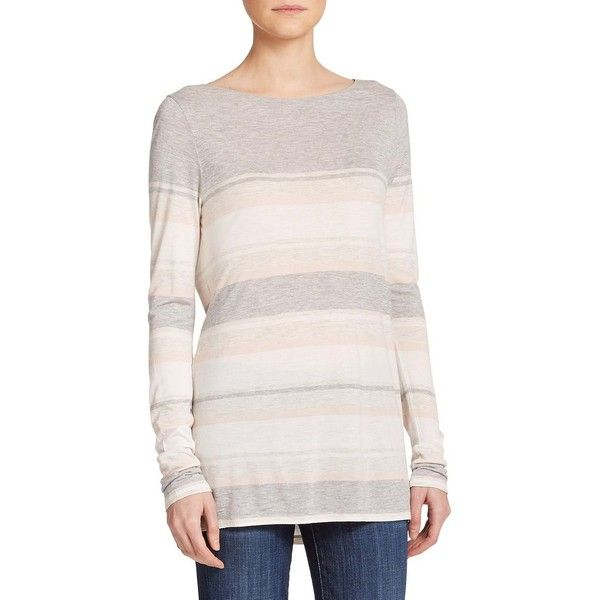Vince Striped Long-Sleeve Tee (101 CAD) ❤ liked on Polyvore featuring tops, t-shirts, apparel & accessories, long sleeve tee, boatneck tee, striped boatneck tee, pink long sleeve tee and striped tee