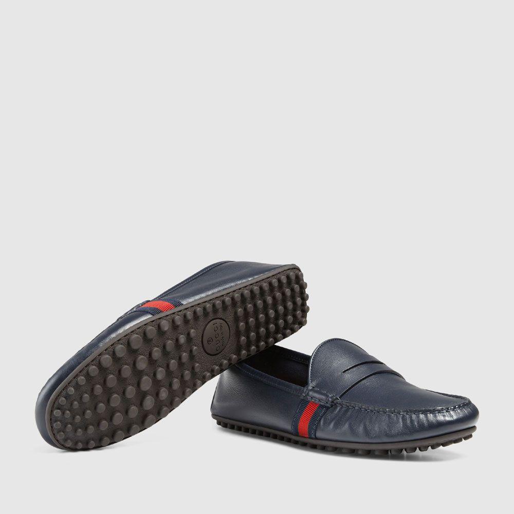326e22ad1d8101 Mens Gucci Blue Nappa Leather Loafer Driver Shoes  Gucci  DrivingMoccasins