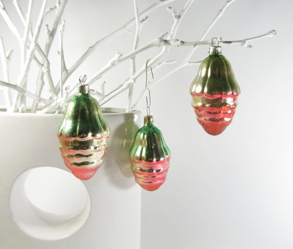 Big Glass Acorn USSR Glass Christmas ornament Rare Soviet Christmas tree decoration Soviet Union 1960s New Year Bauble