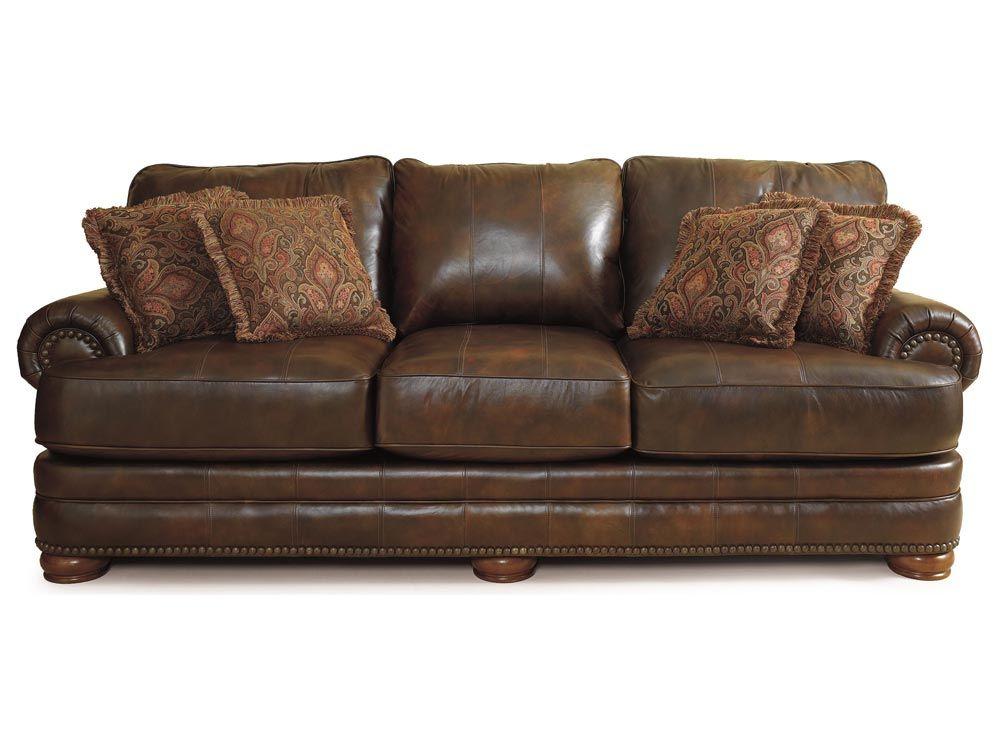 Lane Chocolate Leather Sofa With Nailhead Trim Stanton By Furniture 863