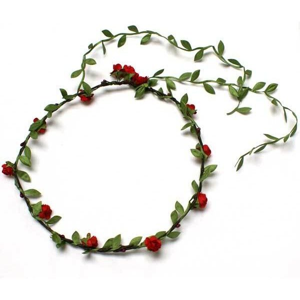 Floral Head Garland | Flower Head Garland | Floral Headdress | Dark... (£4.99) ❤ liked on Polyvore featuring accessories, hair accessories, headbands, jewelry, flowers, flower crown headband, floral crown, flower hair accessories, flower crown headwrap and rose headband