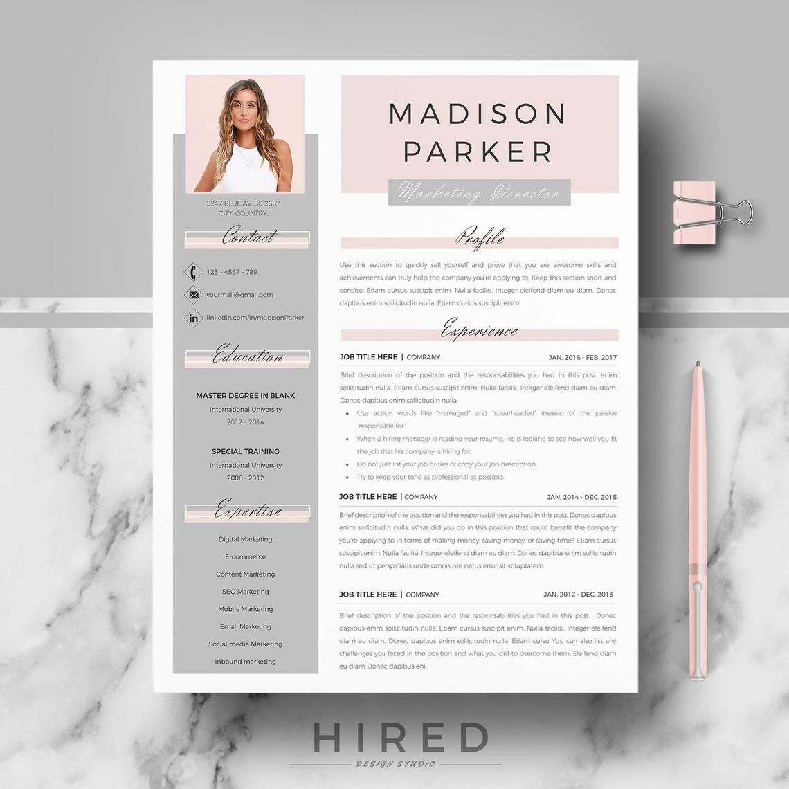 Creative & modern Resume / CV Template for Word AND Pages; Professional Resume / CV design, Cover Letter, References, tips; Instant Download