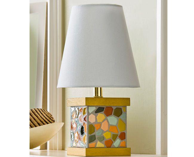 Decoupage , Mosaic Paint Chip Lamp Base