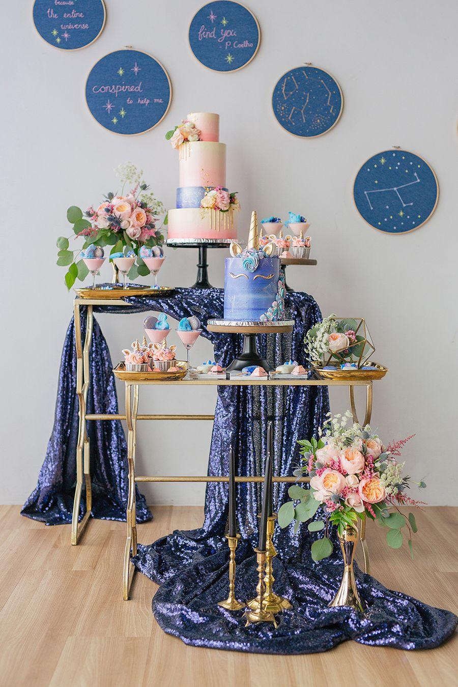 Unicorn And Galaxy Themed Wedding Dessert Table Styled Shoot Wedding Dessert Table Wedding Desserts Dessert Table