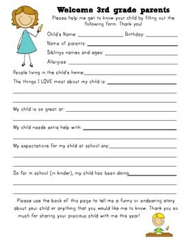 Free Back To School Student Information Sheet K