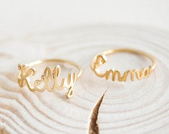 53b8f5375a Name Rings Custom Name Ring Christmas Gift Dainty by JewelryRB Stackable  Name Rings, Mom Ring