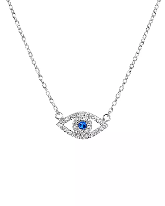 Pearl Evil Eye Pendant Necklace 925 Solid Sterling Silver Rose Gold Vermeil Evil Eye Necklace Clear CZ Gemstone Evil Eye Jewelry