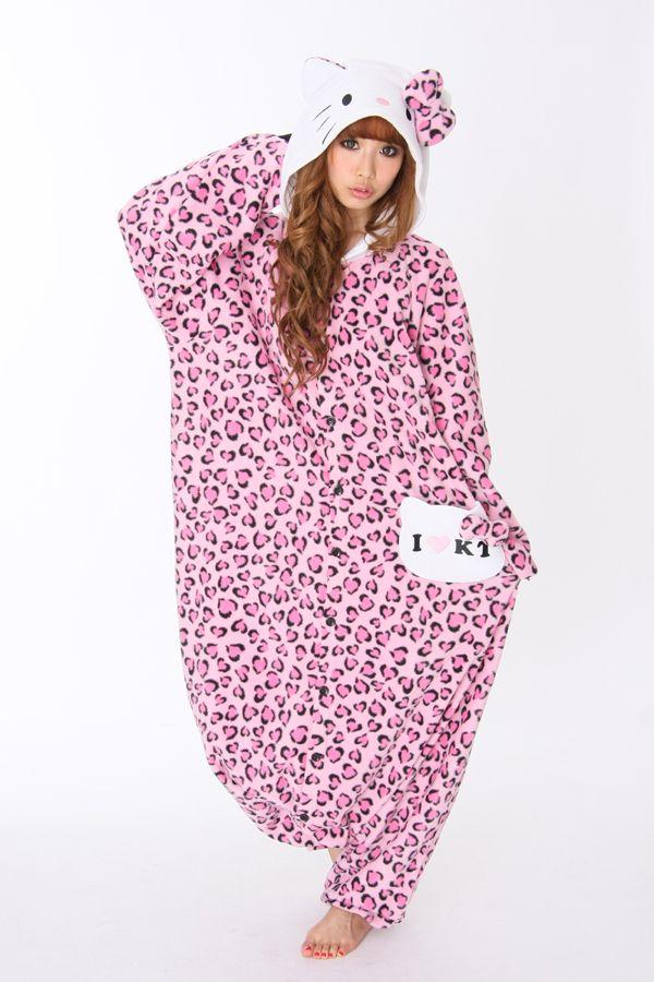 Pink Hello Kitty Leopard Print Adult Onesie Pajama  04e7064839525
