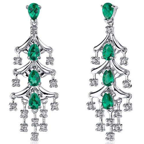 Captivating Seduction 4.00 Carats Emerald Dangle Earrings in Sterling Silver Rhodium Nickel Finish -