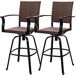 How Cost Brown Wicker Patio Furniture Outdoor Bar Stools