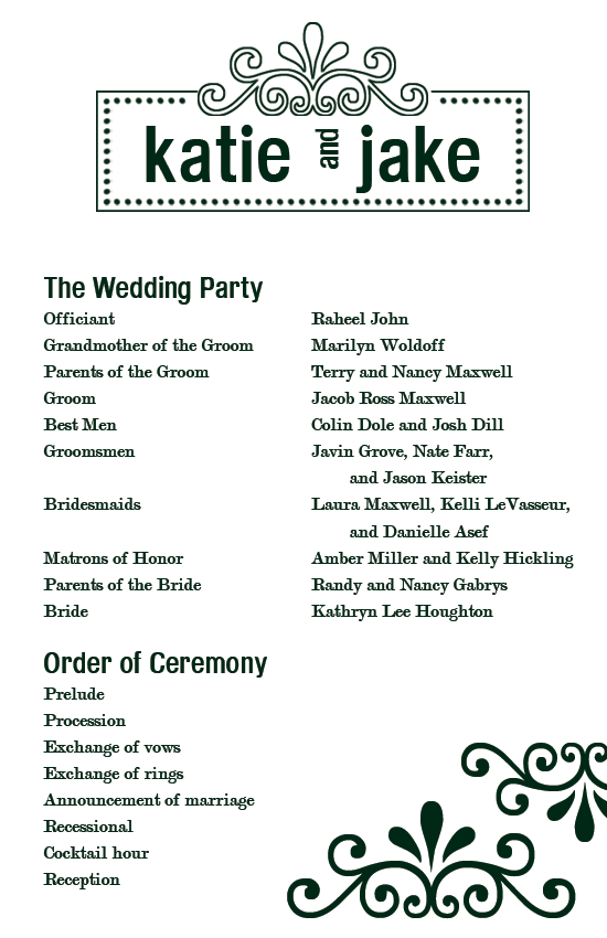 free printable wedding programs | Custom Printables: Katie's Wedding ...