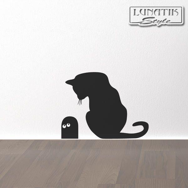 Wandtattoo Katz Und Maus Mit Mausloch   WE54