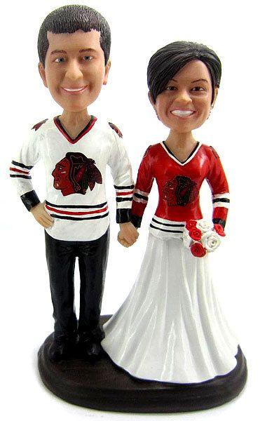 Custom Hockey Wedding Cake Toppers Sculpted to Look by BobbleGram, $199.99