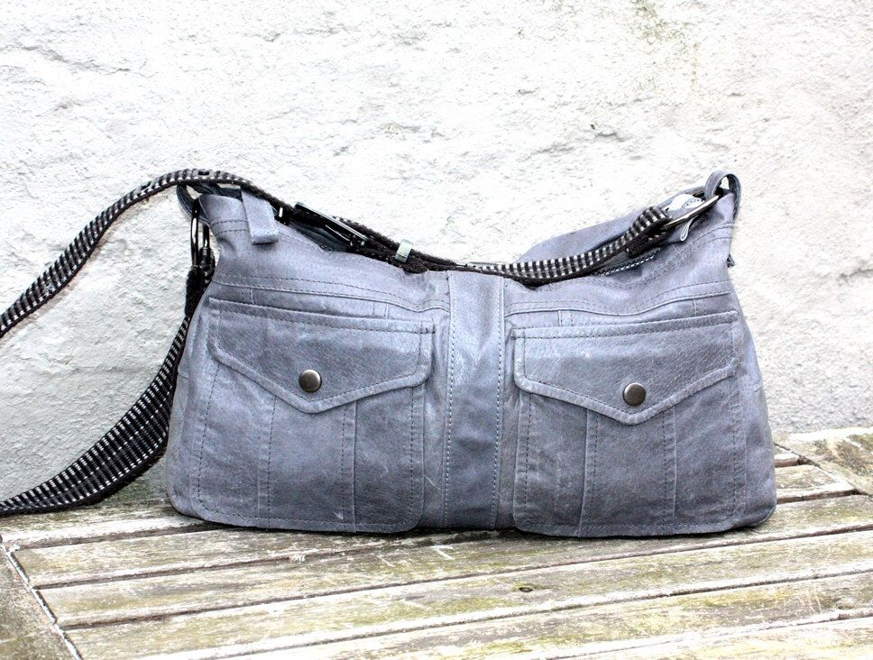 Leather Crossbody Bag Handmade Hobo Recycled Tote Handbag Reused