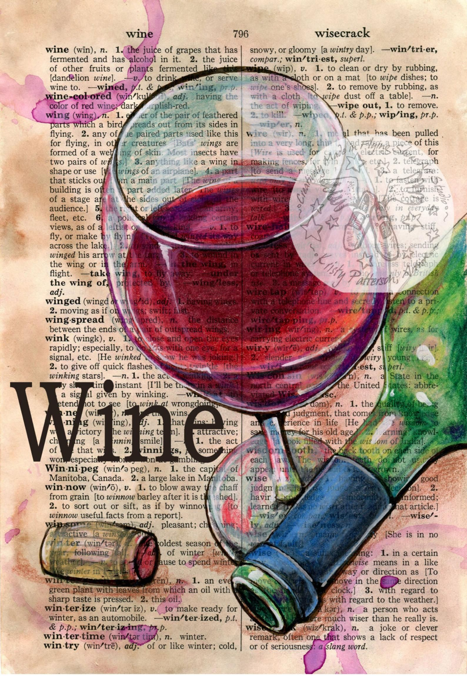 Print Wine Mixed Media Drawing On Distressed Dictionary Etsy Wine Art Book Page Art Book Art