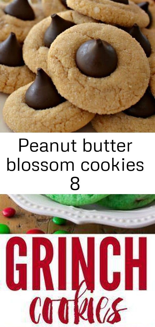 Peanut butter blossom cookies 8 #grinchcookies Peanut Butter Cookies | Peanut Butter Thumbprint Cookies | Thumbprint Cookies | Christmas Cookies | Cookies | Small Town Woman #peanutbutterthumbprints #christmascookies #smalltownwoman via @bethpierce0151 Grinch Cookies - Chewy Candy - Ideas of Chewy Candy #ChewyCandy - Despite their name these Grinch Cookies are just about as festive and holiday-friendly as can be! These soft and chewy cookies are colored Grinch-green and decorated with milk choco #grinchcookies